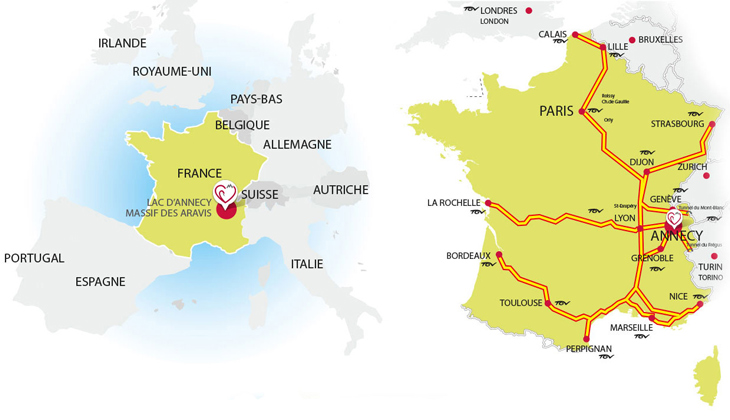 Comment venir au lac d'Annecy - voiture